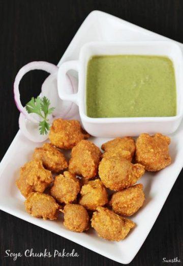 Soya pakora recipe | Meal maker pakoda using soya nuggets