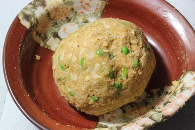 preparing soya seekh kabab mixture