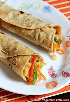 Veg kathi roll recipe for kids | Simple mix veg frankie recipe