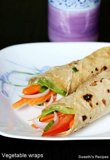 Veg Wraps Recipe   How to make Vegetable Wraps   Roti wraps