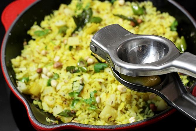 addition of lemon juice for batata poha recipe
