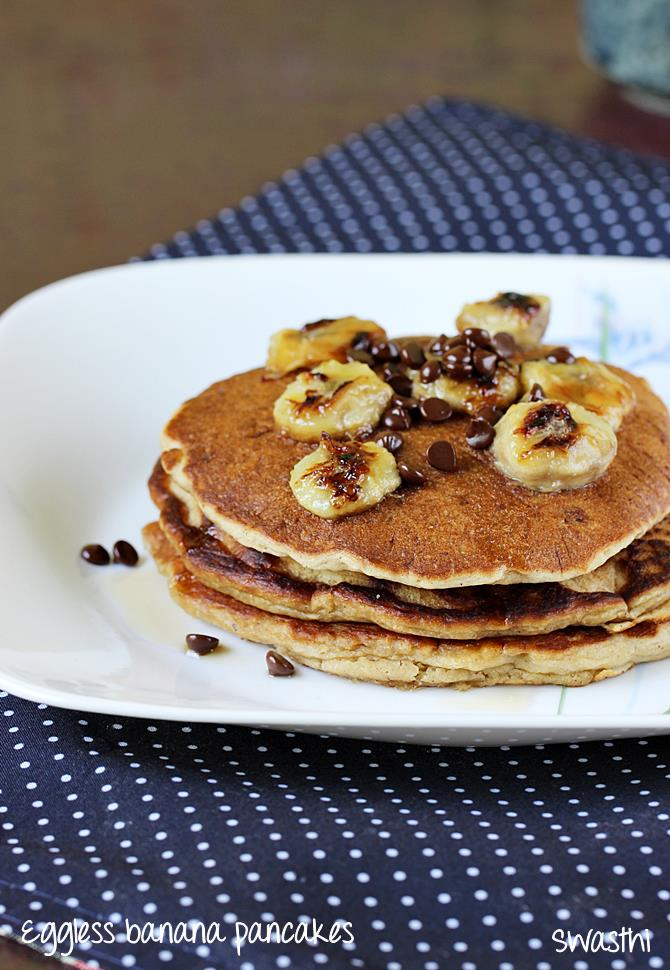 Eggless banana pancakes recipe how to make eggless banana pancake eggless banana pancakes recipe ccuart Images