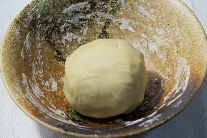 resting dough to make fried modak