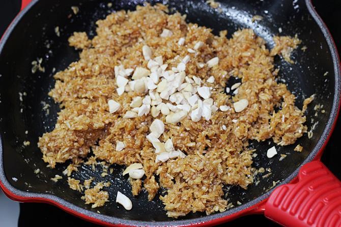addition of cashews for fried modak recipe