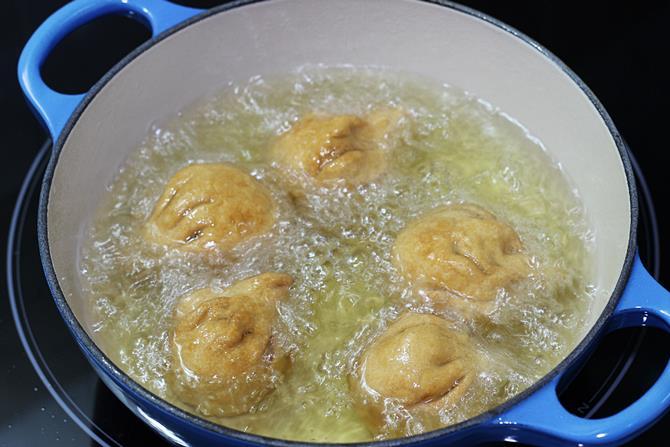deep frying fried modak