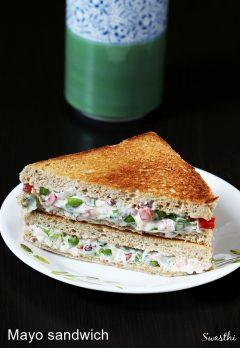Veg mayonnaise sandwich recipe   How to make mayo sandwich recipe