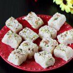 Coconut barfi recipe | How to make coconut barfi with mawa or khoya