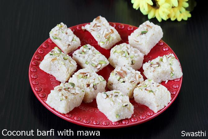 coconut mawa barfi recipe
