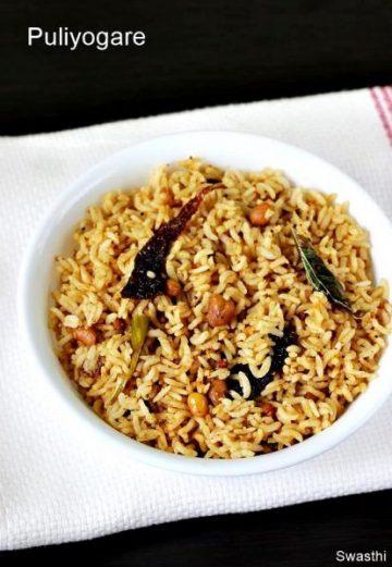 Puliyogare recipe   Tamarind rice recipe in Karnataka style