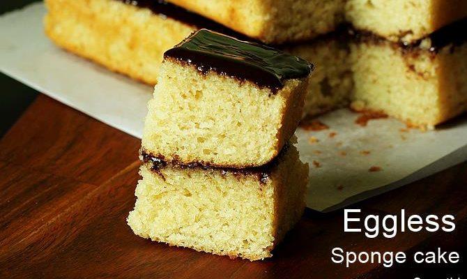 Eggless sponge cake recipe |  How to make eggless vanilla sponge cake