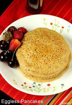 Eggless pancake recipe | How to make eggless pancakes with wheat flour