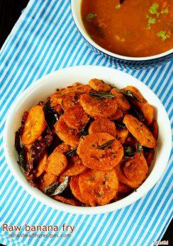 Vazhakkai fry recipe | Tamilnadu style spicy raw banana stir fry